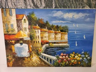 Oil Painting of Dinner Setting On Sea Side  Signed