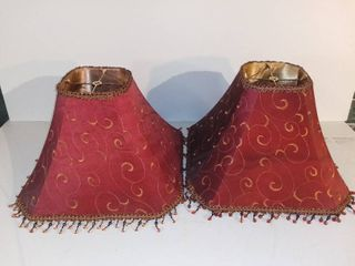 lot of 2 Embroidered lamp Shades with Beading