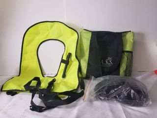 Personal Flotation Device  large Sized  Manual Inflation  With Extra Straps and Bag