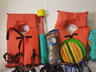 lot of 100 Foot Boating Rope  life Vests  Water Shoes  Etc