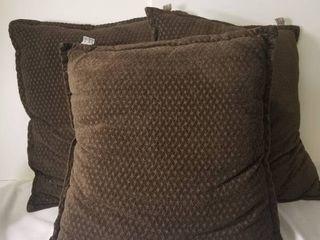 Three Soft Brown Pillows