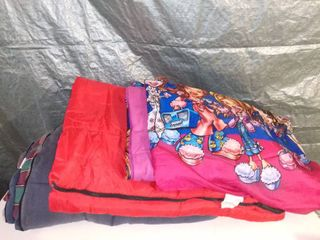 lot of 6 Various Sleeping Bags and Blankets in Blue Tote