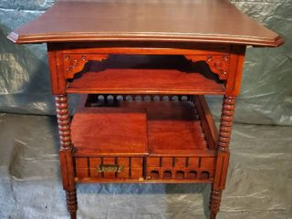 Gorgeous Antique End Table with 2 Shelves and 1 lower Drawer  Brass Handles  with Unique look