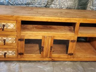 Rustic Console with Multiple Cubbies and Drawers  Brass Handles and Tile Decor