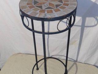 Metal Pedestal Planter With Mosaic Top