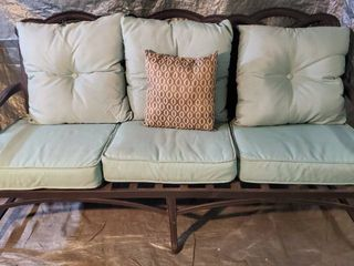 Metal Framed 3 Seat Patio Couch with Teal Pillows  1 Throw Pillow