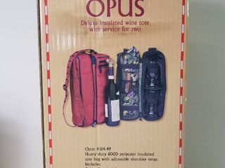 Opus Deluxe Insulated Wine Tote With Service For Two  Picnic Time Inc  Great Condition
