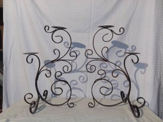 Pair of Decorative Metal Candle Holders