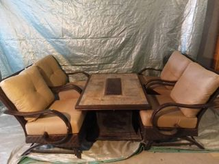 Beautiful 4 Metal And Wicker Chair Fire Pit Combination In Excellent Condition With Cushions Included
