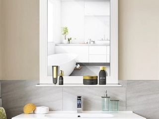Square Vanity Makeup Mirror Bathroom Wall Mirror with Holding Shelf