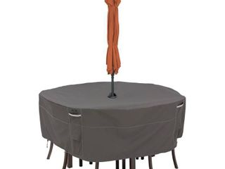 Classic Accessories Ravenna Water Resistant 60 Inch Round Patio Table   Chair Set Cover with Umbrella Hole  Retail 79 98