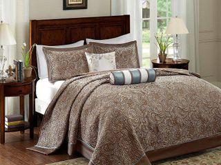 Madison Park Whitman Blue Jacquard Bedspread Set  Retail 95 49