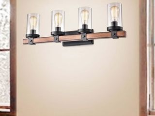 Cynthia Natural Wood 4 light Glass Cylinder Antique Black Wall Sconce  Retail 133 49