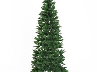 7  PVC Hinged Unlit Artificial Christmas Tree   865 Tips  Stand  Green