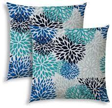 BURSTING BlOOMS Aqua Indoor Outdoor Pillows
