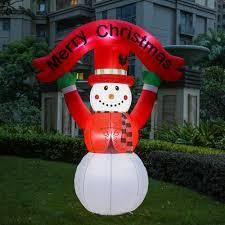 8Ft Snowman with Merry Christmas Banner