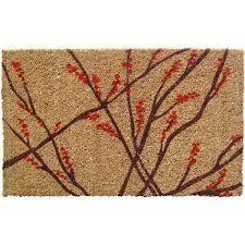 Hand Woven Winter Berries Coir Doormat B