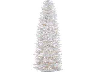 Kingswood White Fir Hinged Pencil Tree with 300 Clear lights   7  Retail 136 16