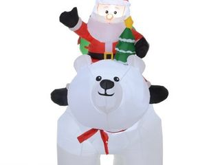 Christmas Holiday Yard Moving Inflatable Outdoor light Up lED Airblown Decoration  Santa Claus and Polar Bear