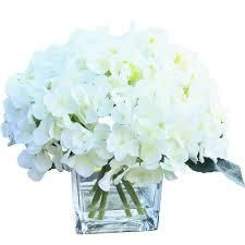 Enova Home 7 Steams Cream Hydrangea Silk Flower in Clear Glass Vase with Faux Water