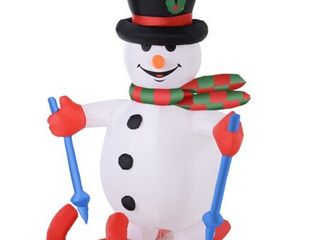 HOMCOM Airblown Inflatable Christmas Outdoor lighted Yard Decoration  Skiing Snowman  6  Tall