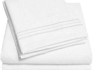 Soft Microfiber 5 piece Split King Bed Sheet Set  white