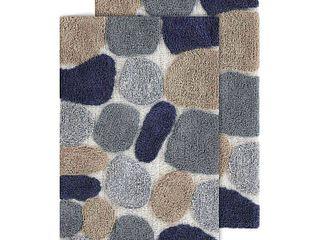 21 x34    24 x40    Blue Sienna  Chesapeake Pebbles 2pc Bath Rug Set