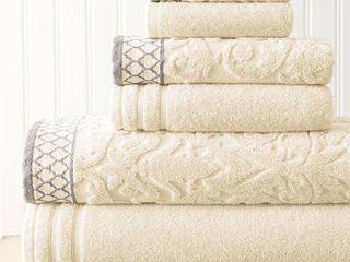 Mix Jacquard Border 6 Piece Bath Towel Set  Ivory