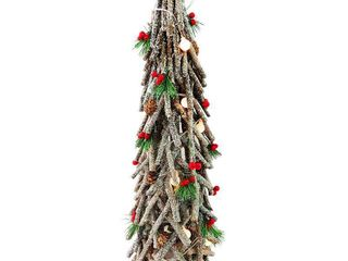 Pre lit 23  Wood look Holiday Tree