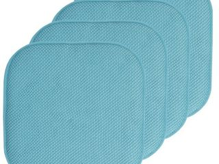 Set of 4   Peacock  16x16 Memory Foam Non slip Chair Pad Seat Cushion Sets   16 X 16