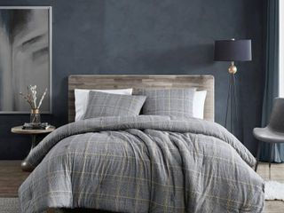 Kenneth Cole New York Sussex Brushed Cotton Flannel Comforter Set  Full Queen Bedding