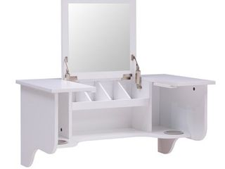 Black Wall Mounted ledge with Vanity Mirror