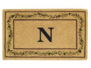 Heavy duty Coir Decorative Olive Branch Border Monogrammed Doormat