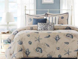 Madison Park Nantucket Cotton Printed 7 piece Comforter Set  Retail 111 94