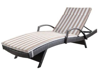 Toscana Outdoor Wicker Armed Chaise lounge Chair with Cushion by Christopher Knight Home  Retail 469 99