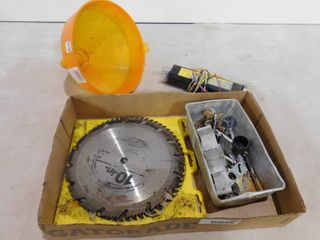 lot of items including a funnel and 10 in saw blades