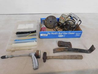 lot of assorted items including zip ties  pry bar  deluxe jig saw and compression tester