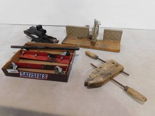 lot of car jack  clamp and wood vice