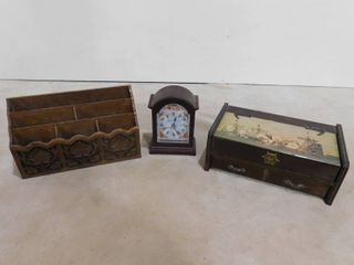 lot of 3 wooden pieces of decor  one wall organizer  one clock and one storage box