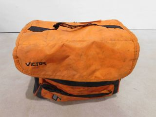 Orange and black storage bag containing misc  hand tools and Permatex RTV silicone gasket maker