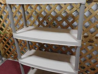 4 tiered plastic shelf in 32 l X 12 1 2 in W X 4 ft H