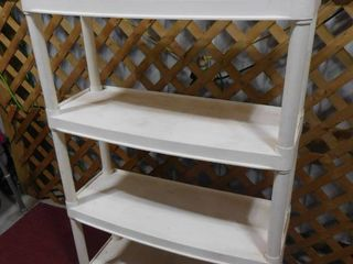 4 tiered plastic shelf in 32 l X 12 1 2 in W X 50 in H