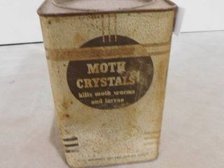 Vintage empty canister of moth crystals
