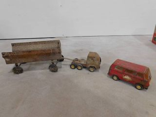 Vintage Tonka chief van and vintage small truck pulling large trailer