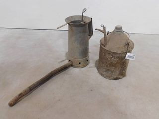Antique 1 2 gallon galvanized oil can and oil can with screw top lid
