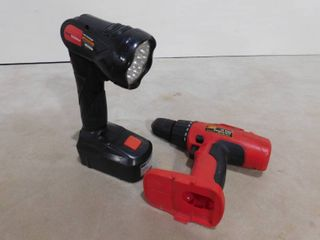 Drillmaster 18V flashlight and Shop source 12 volt cordless drill