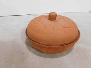 Terra Cotta Apple Baker Cookin The American Way lidded Baking Pan Pot Casserole