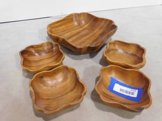 5 pc Dolphin genuine monkey pod wooden bowls