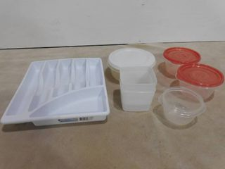 lot of assorted plastic containers and sterilite silverware holder