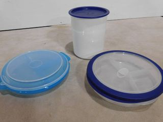 2 food divider containers and one Tupperware container
